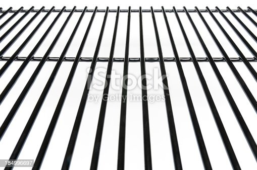 This is an empty black oven rack with a white background. The top edge is 255 white.