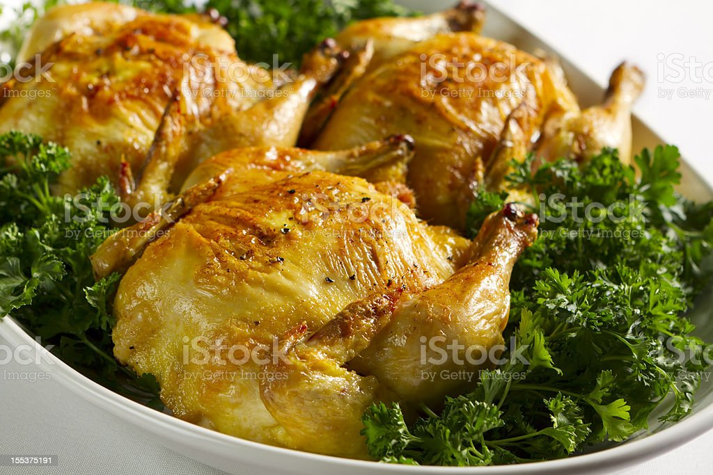 Oven Roasted Cornish Game Hens stock photo