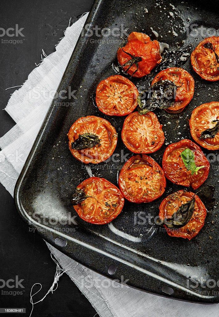 Oven roasted tomatos stock photo