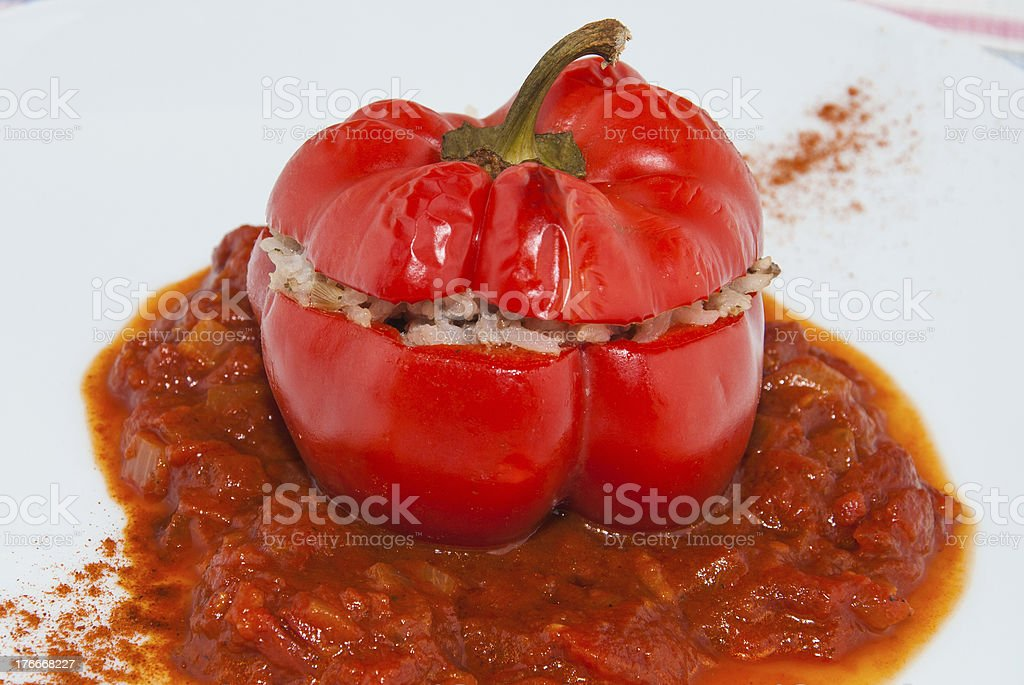 Oven tomato stuffed with mince meat royalty-free stock photo