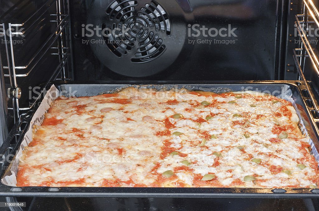 oven with pizza royalty-free stock photo