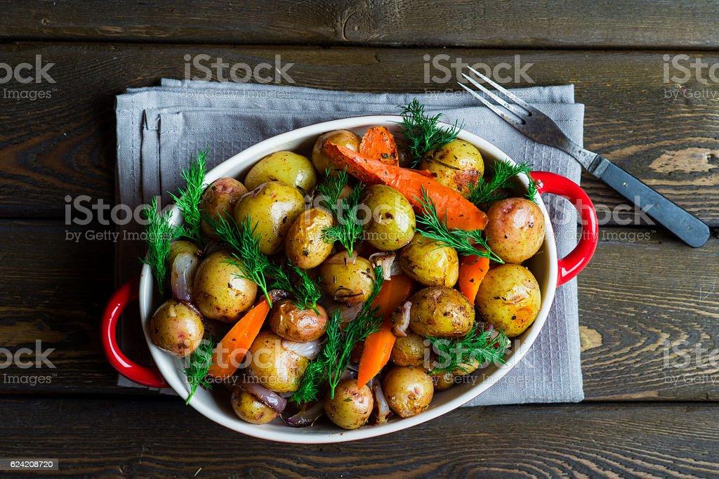Oven-roasted potato stock photo
