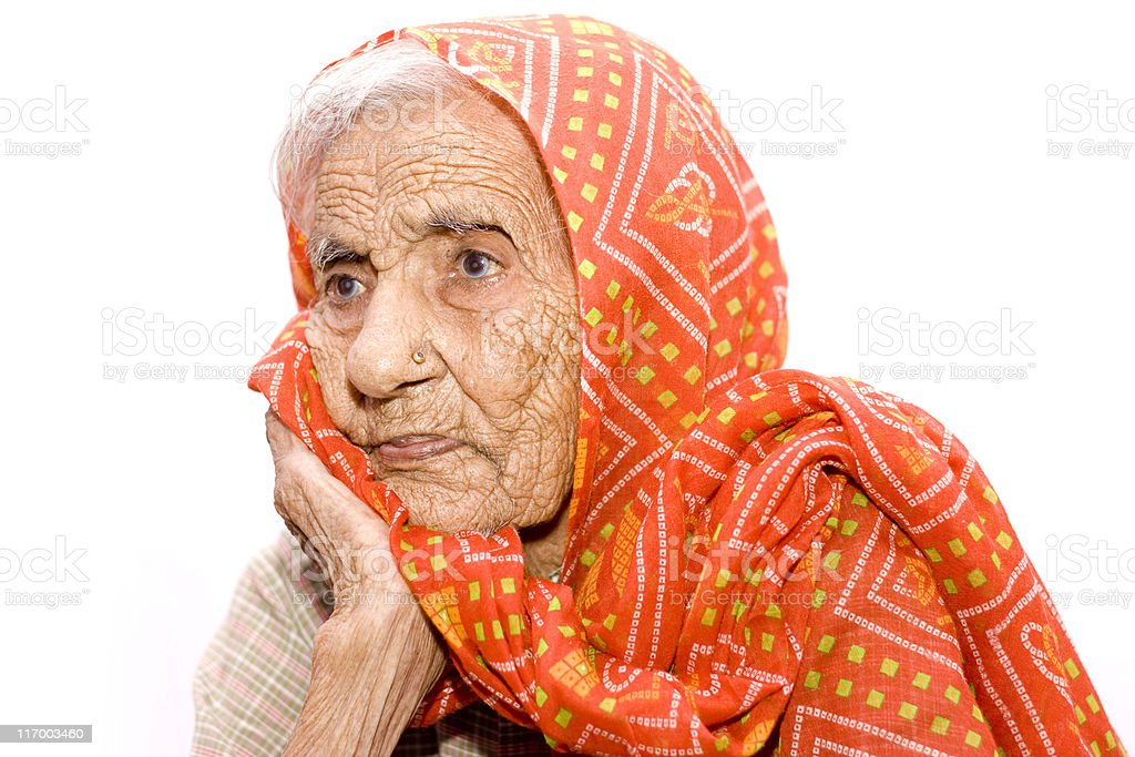 Over 105 Years Old Indian Senior Woman stock photo