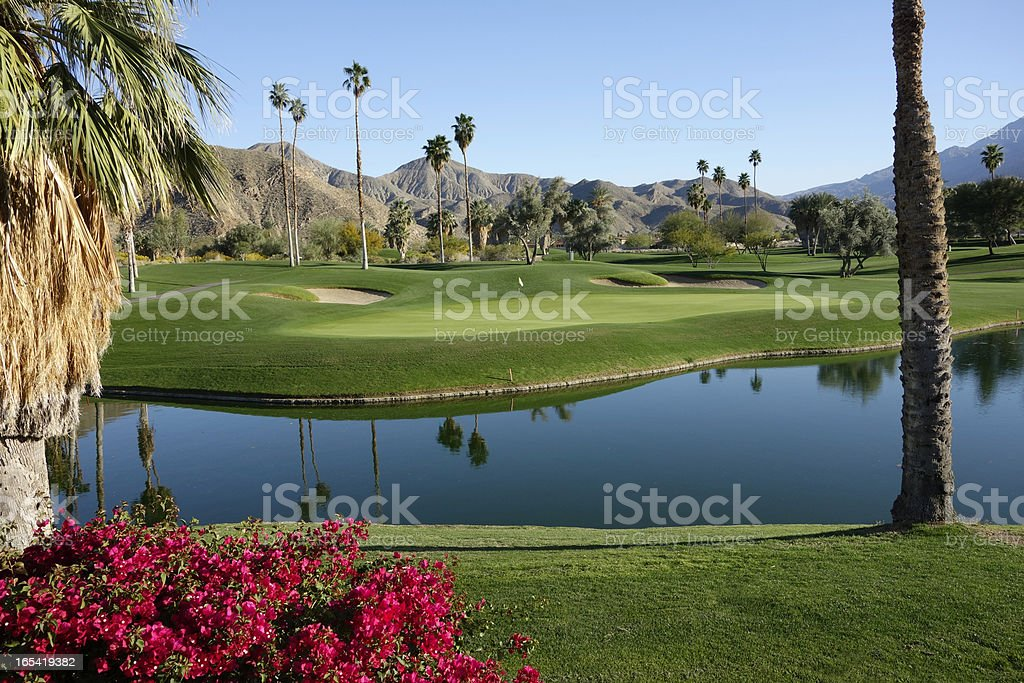 Over A Water Hazard To The Golf Green stock photo
