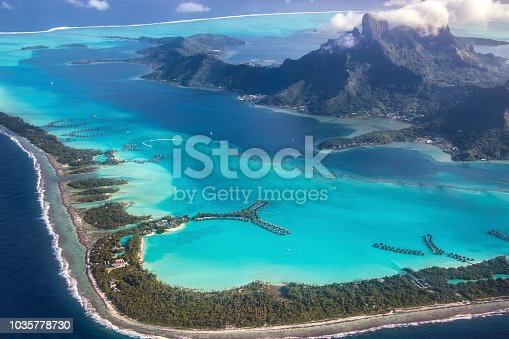 The amazing view flying into Bora Bora. French Polynesia, South Pacific Ocean.