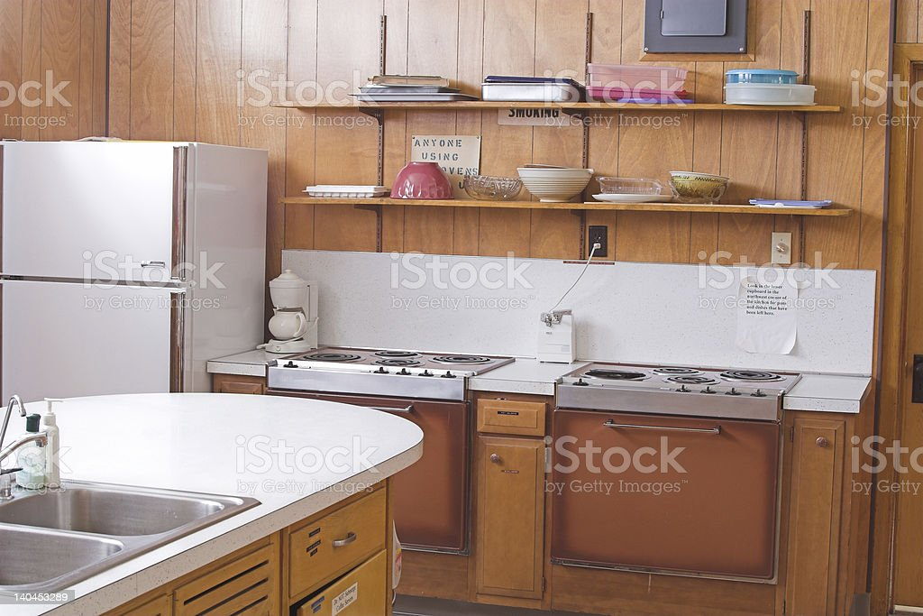 Over due of retro wood paneled kitchen stock photo