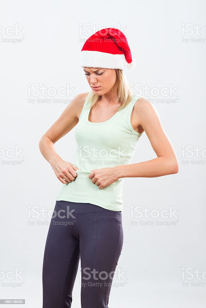 Over eating for holidays stock photo