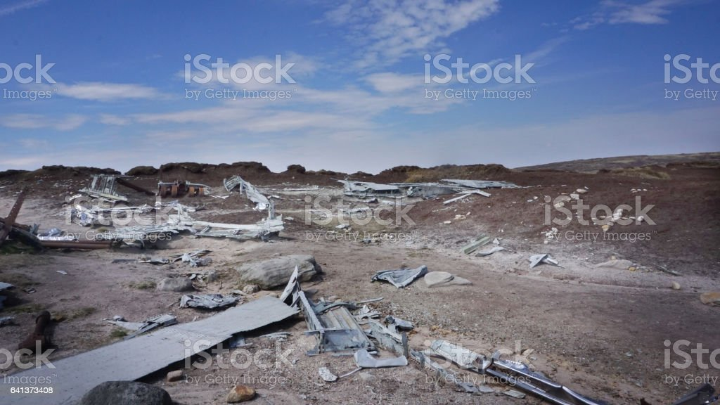 Over Exposed Crash Site Bleaklow Sheffield stock photo