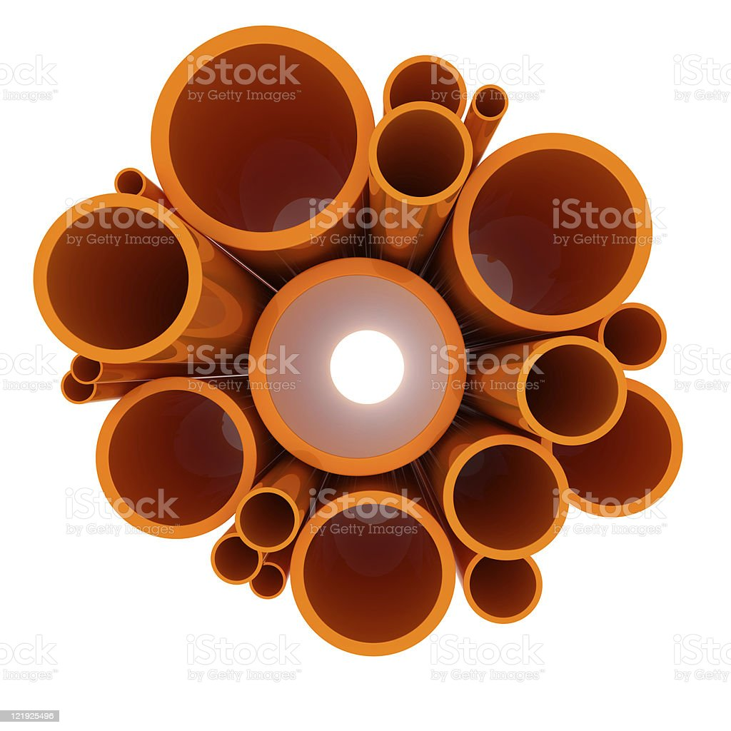Over head shot of orange vectorized pipes on white backing stock photo