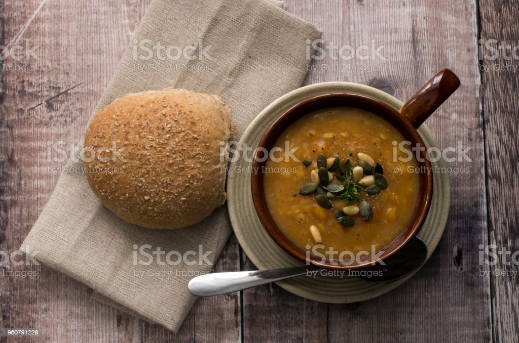 Over head view of a bowl of lentil soup stock photo