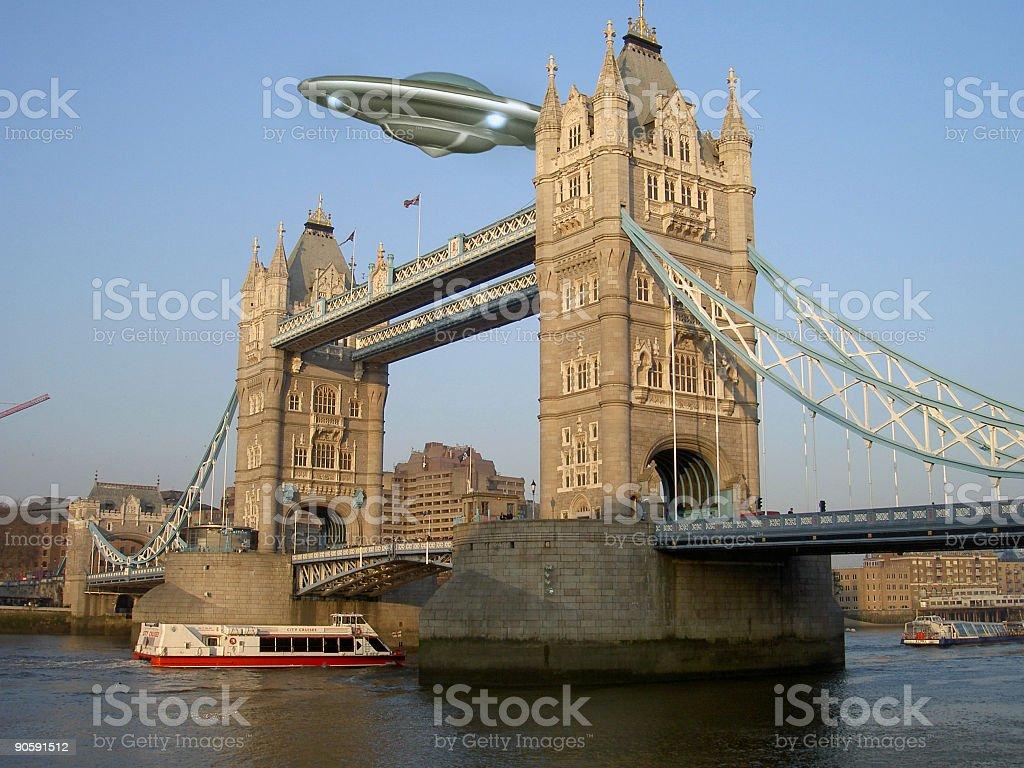UFO over London  Alien Stock Photo