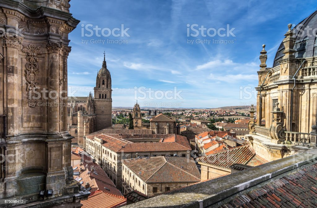 Over look New Cathedral Belltower of Salamanca and surroundings from La Clerecia in Salamanca Castilla y Leon Spain stock photo