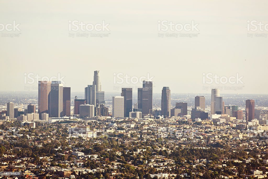 Over looking Los Angeles skyscrapers royalty-free stock photo