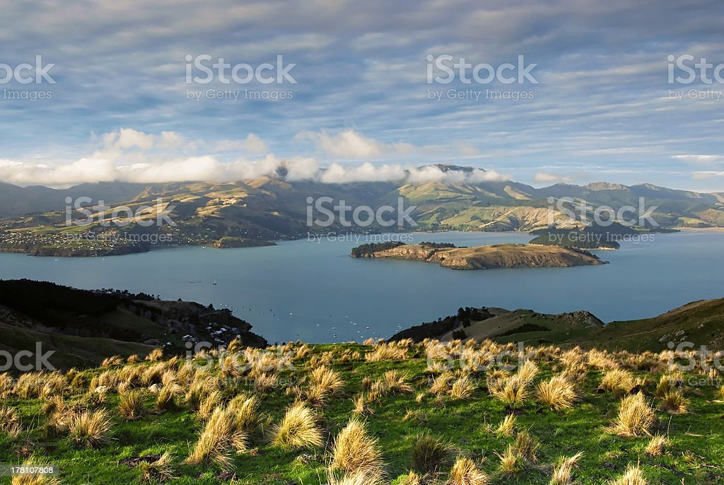 Over looking Lyttleton harbour, Christchurch, New Zealand stock photo