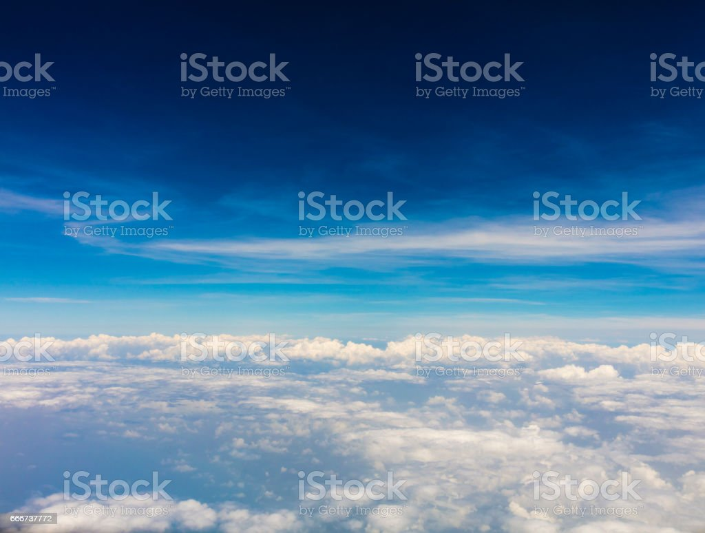 Over Panama, a view of the clouds as shot from a plane window. foto stock royalty-free