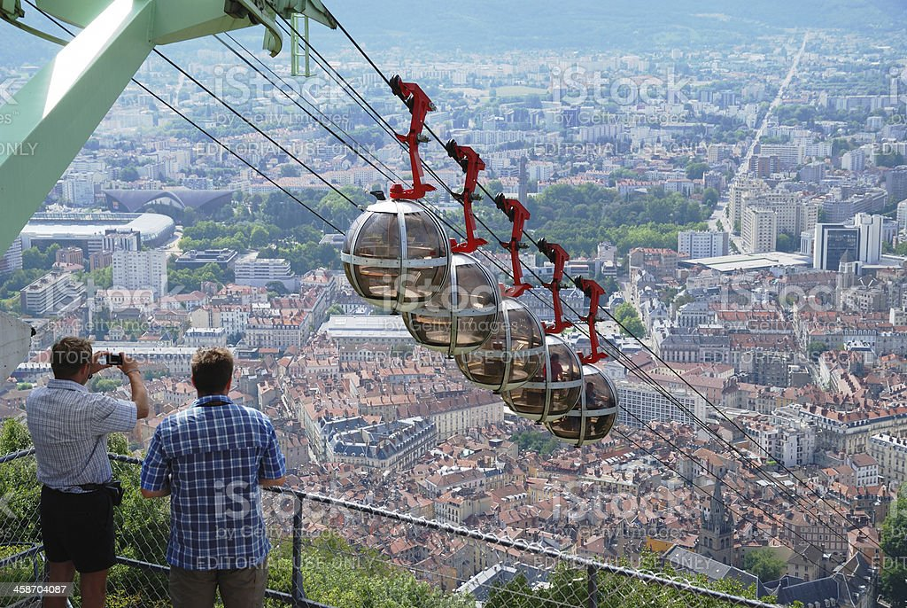 Over the city Grenoble. stock photo