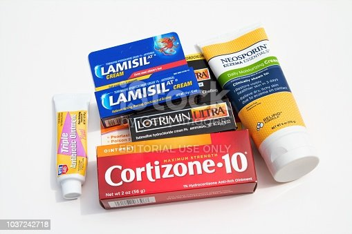 Over the counter medications for treating eczema, psoriasis, poison ivy, athletes foot, insect bites and minor scratches and cuts. Creams and ointments that are anti-fungal, anti-itch, antibiotic and relieve burning and pain from skin ailments. Medications include Cortizone, Lotrimin, Lamisil, Rite Aid Antibiotic Ointment and  Neosporin.