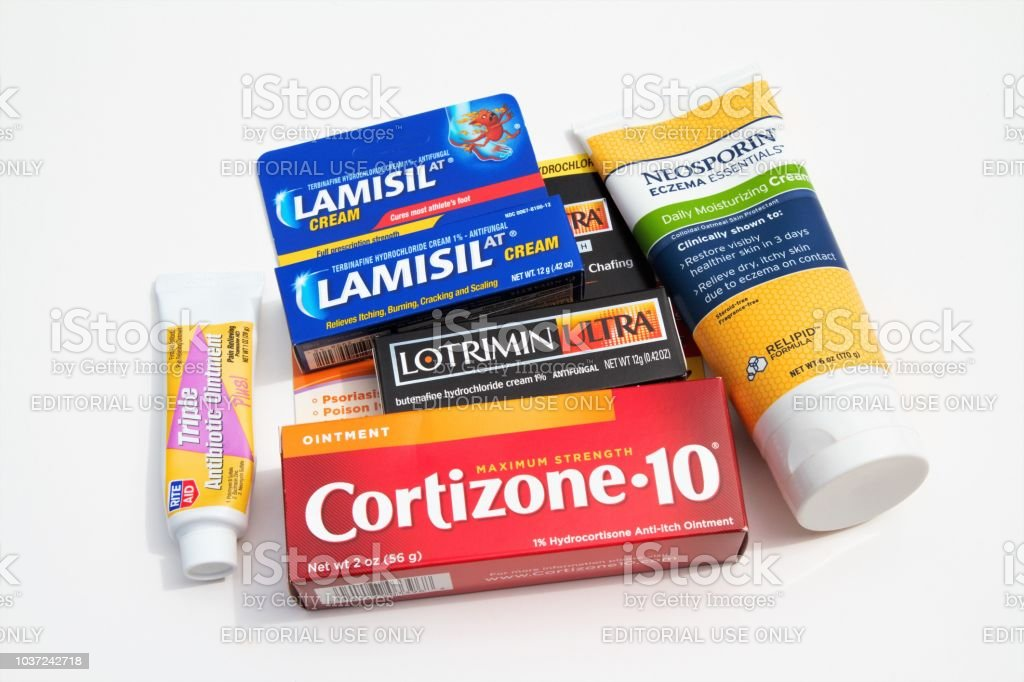 Over the counter medications for treating eczema, psoriasis, poison ivy stock photo