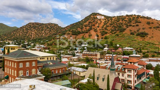 Also called Copper City Bisbee Arizona is seen here from an aerial perspective