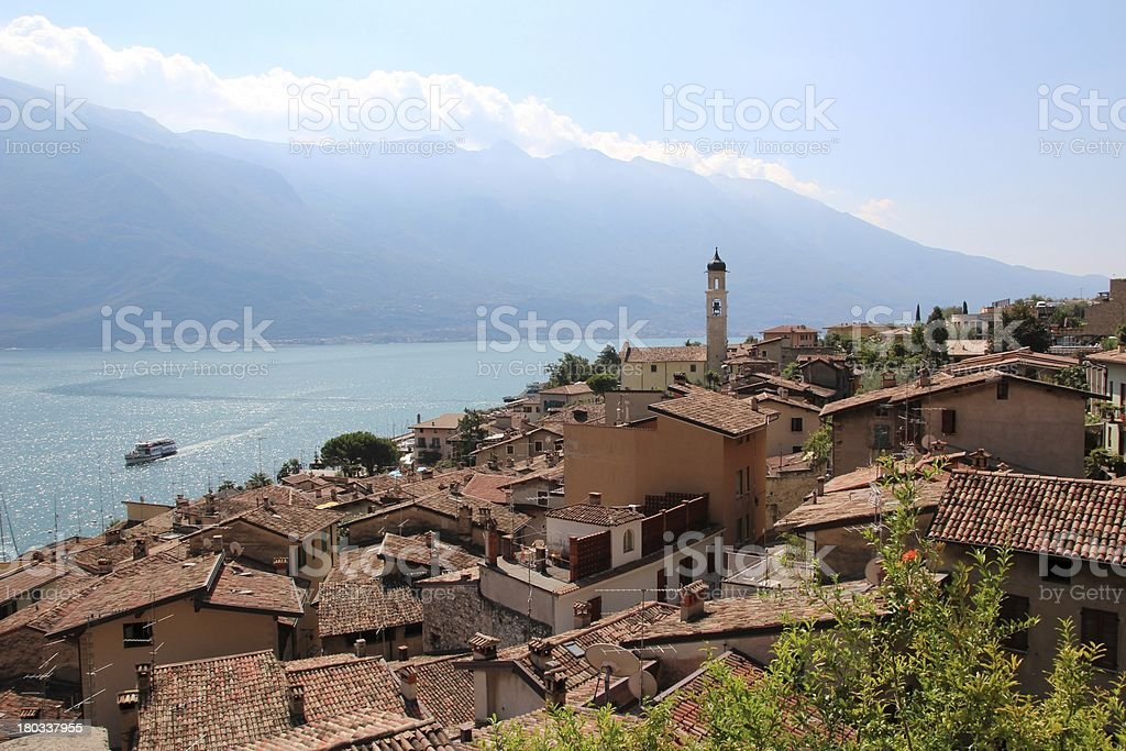 over the roof of limone lago di garda top stock photo