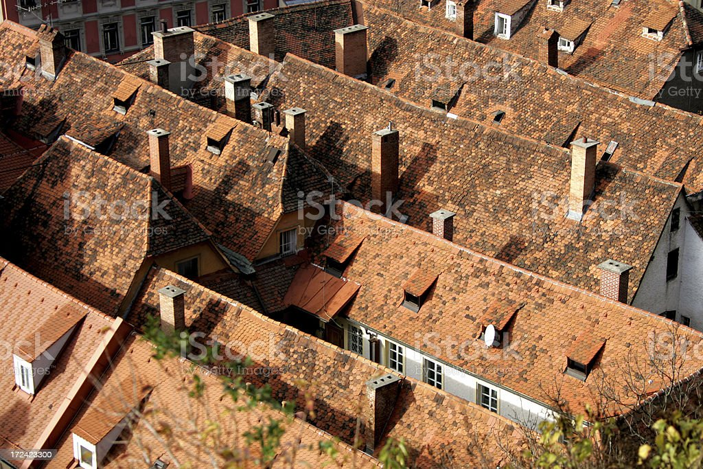 over the roofs stock photo