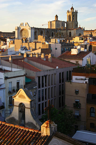 over the rooftops of a Spanish Village Tarragona Catalonia stock photo
