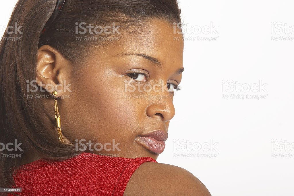 Over the shoulder glance royalty-free stock photo