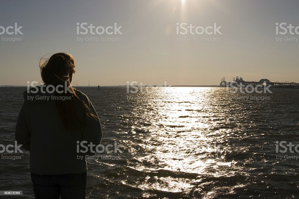 Over the water and looking towards bridge royalty-free stock photo