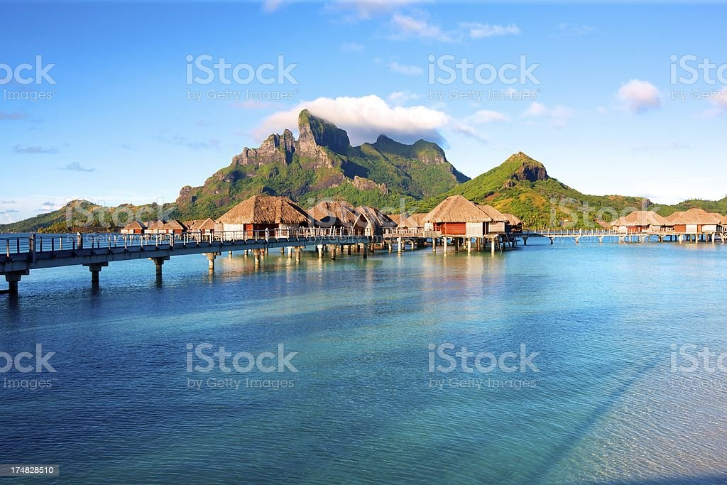 Over the water Bungalows stock photo