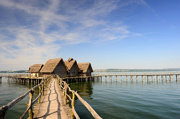 Over the Water of Pile Dwelling in Unteruhldingen Lake Constance  Bodensee stock pictures, royalty-free photos & images