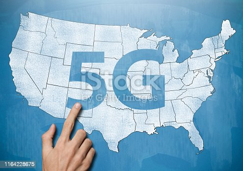 istock 5G NETWORK over USA MAP  / Blue blackboard concept (Click for more) 1164228675