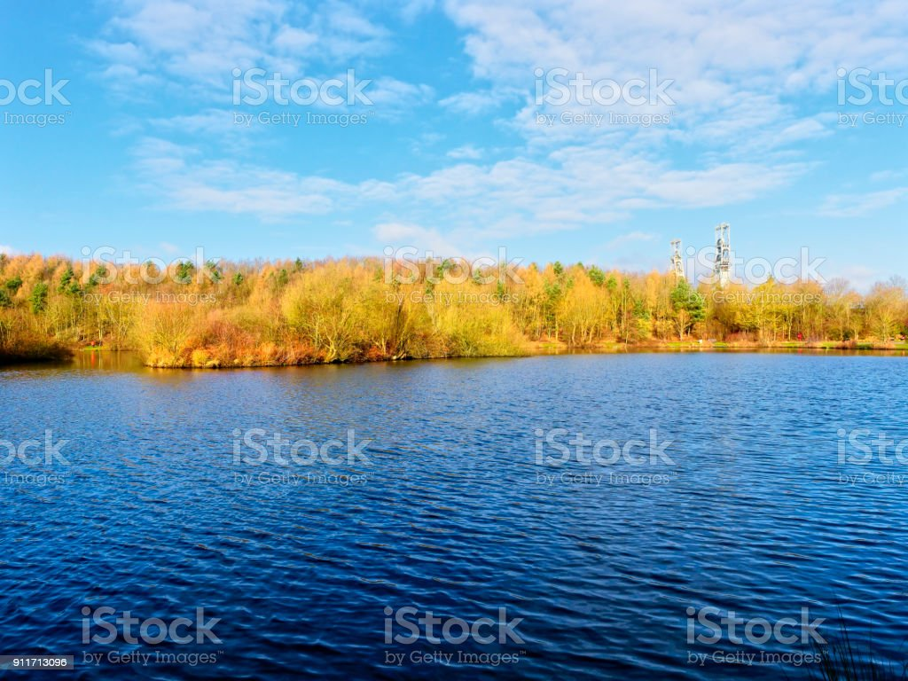 Over Vicar Water to Clipstone Colliery stock photo