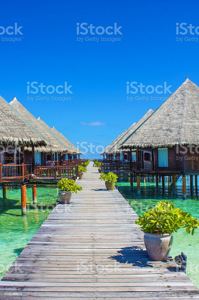 Over water bungalow in the Maldives stock photo