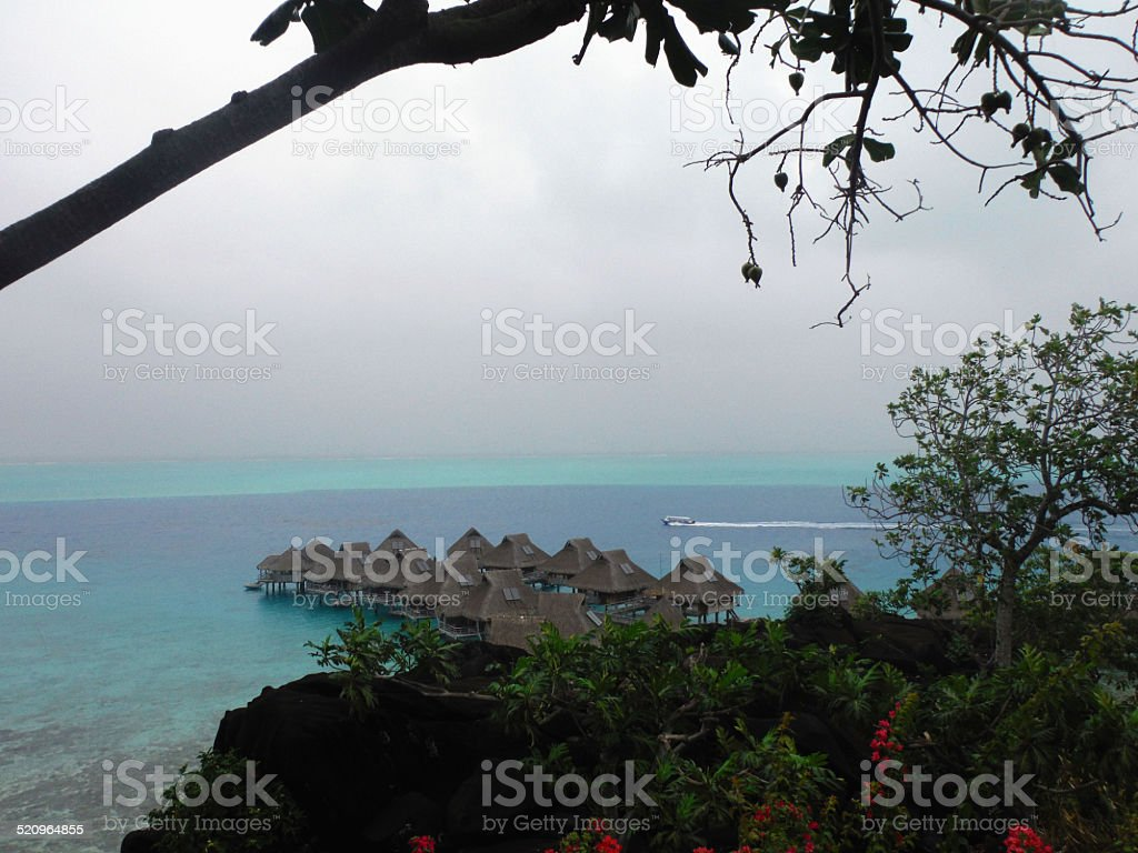Over Water Bungalows In Bora Bora Stock Photo Download