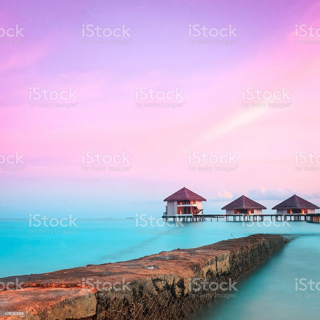 Over water bungalows stock photo
