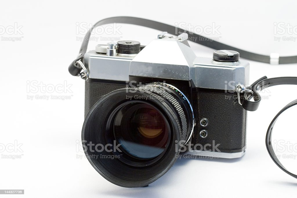 overal shot of an old slr photocamera stock photo