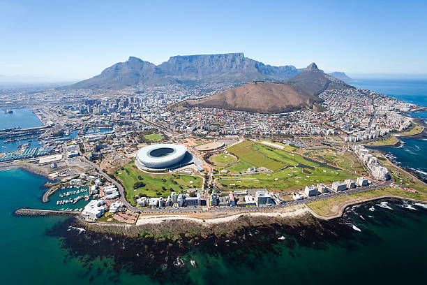 overall aerial view of cape town - cape peninsula stock pictures, royalty-free photos & images