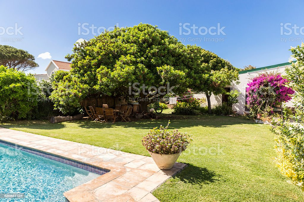 Overall view of garden on sunny day stock photo