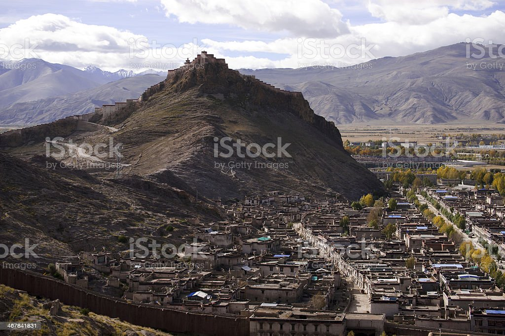 Overall view of jiangzi county and  zongshan castle. stock photo