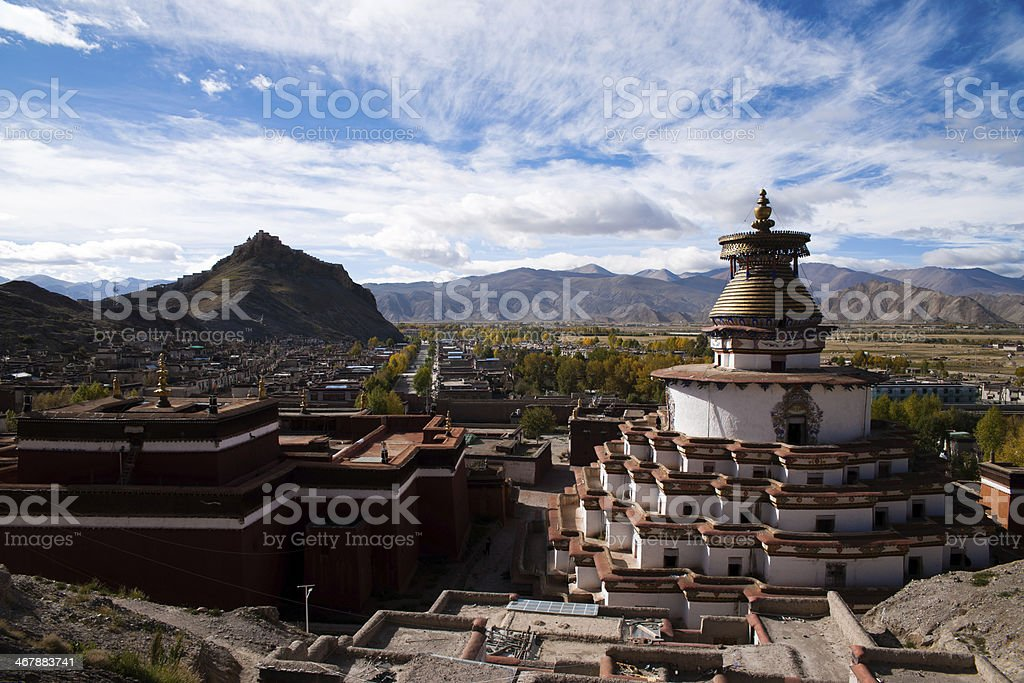 Overall view of zongshan castle and Palcho Monastery stock photo