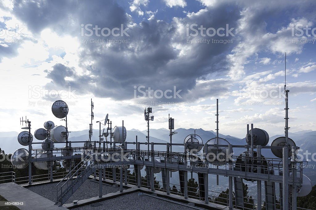 overboarding exposure to radiowaves through cellular transmitter stock photo