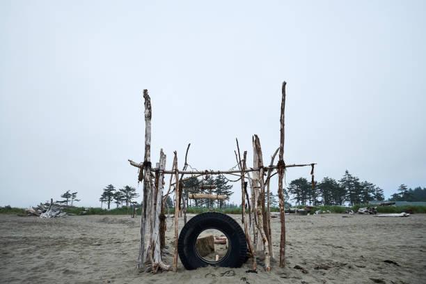 Overcast Beach Fort stock photo