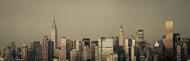 Overcast cross-processed New York City Skyline Panoramic stock photo