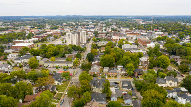 Overcast Day Aerial View over the Urban Downtown Area of Bowling Green Kentucky stock photo