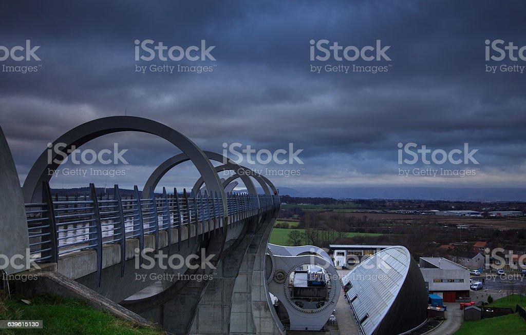 Overcast Day Over Falkirk Wheel stock photo