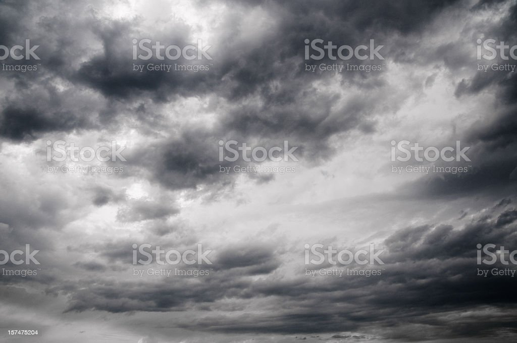 Overcast of the sky in black and white royalty-free stock photo