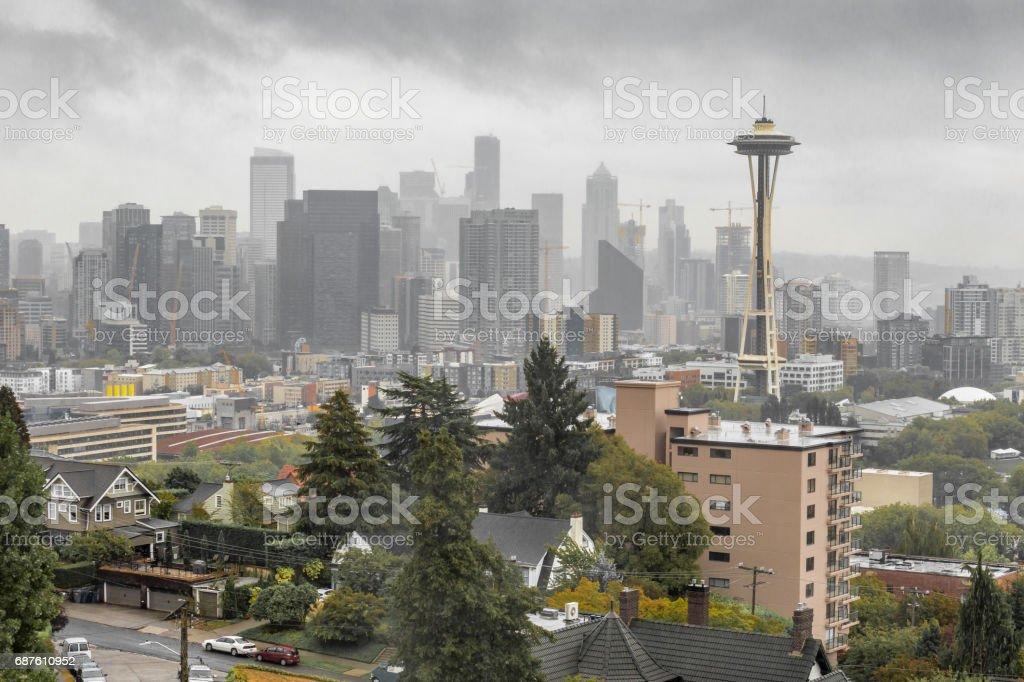 Overcast Seattle skyline with Space Needle stock photo