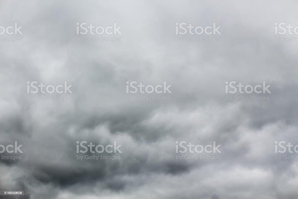 Overcast sky with dark stormy rain clouds. stock photo