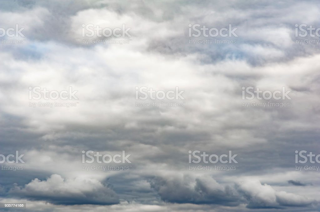 Overcast texture with clouds. Copy space.A lot of clouds in dramatic filter. stock photo