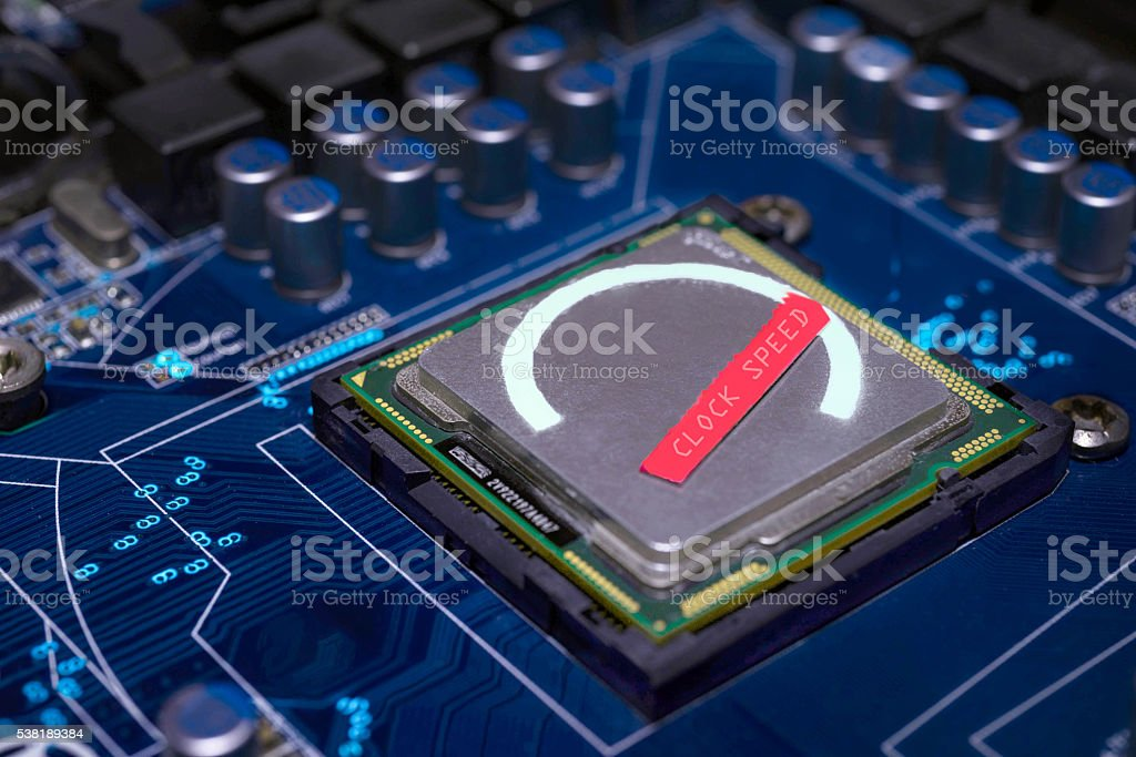 Overclocking CPU concept stock photo